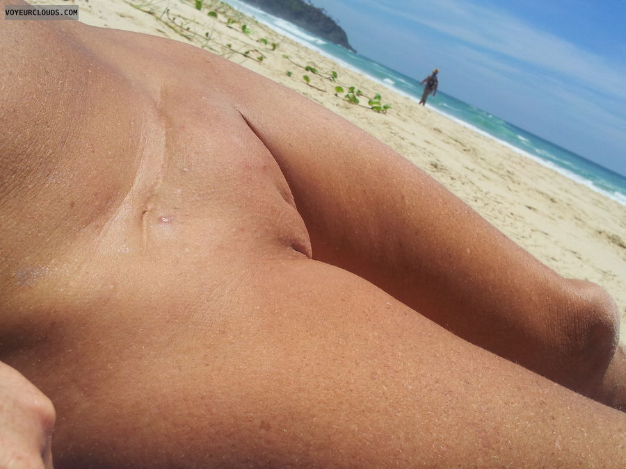 shaved pussy, beach pic, outdoors, tanned pussy, pink pussy