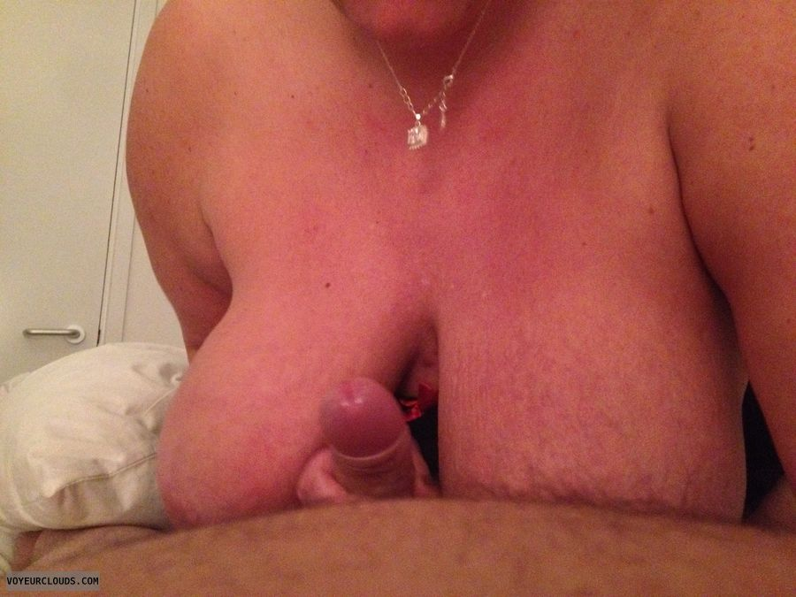 couple sex, tit fuck, tit wank, big tits, nude wife