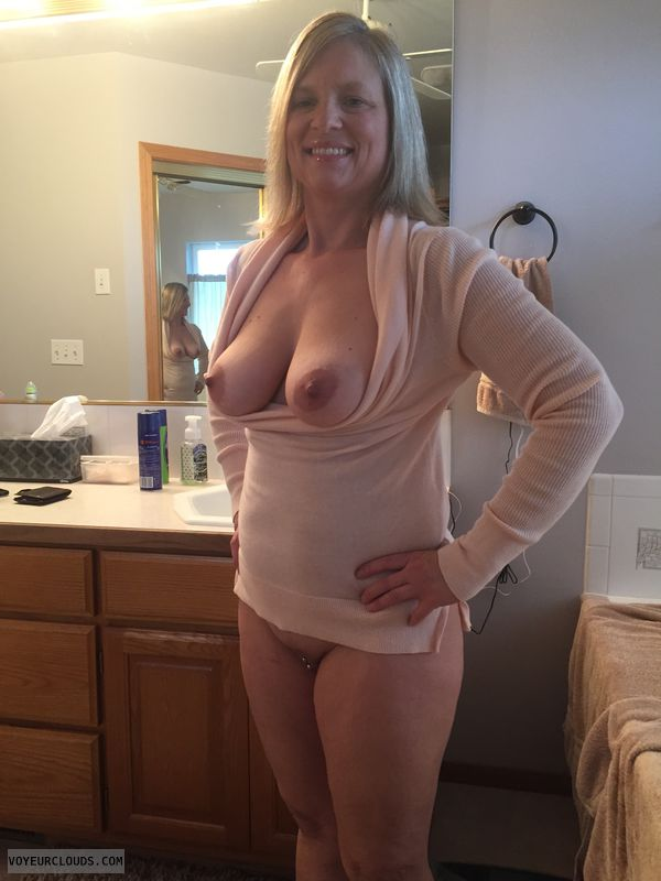 medium tits, hard nipples, tits out, shaved pussy
