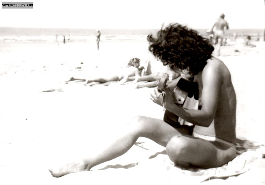 retro pic, small tits, nude beach