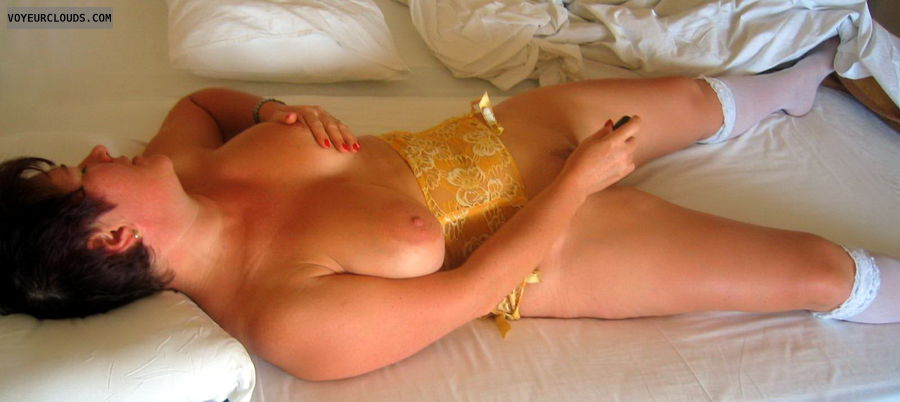 masturbation, big tits, hars nipples, vibrator, shaved pussy