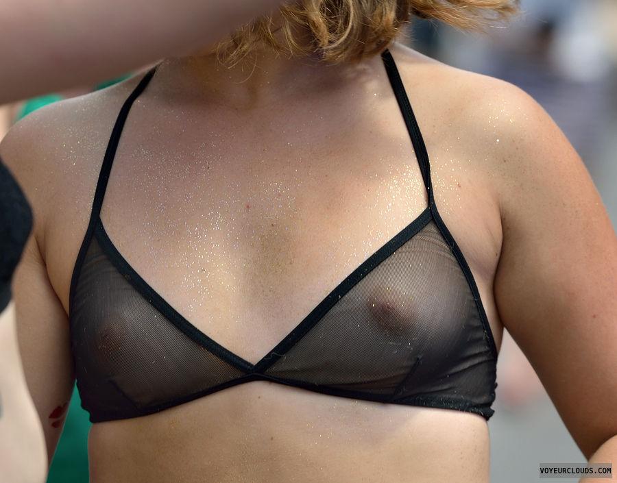 small tits, black bikini, smooth nipples