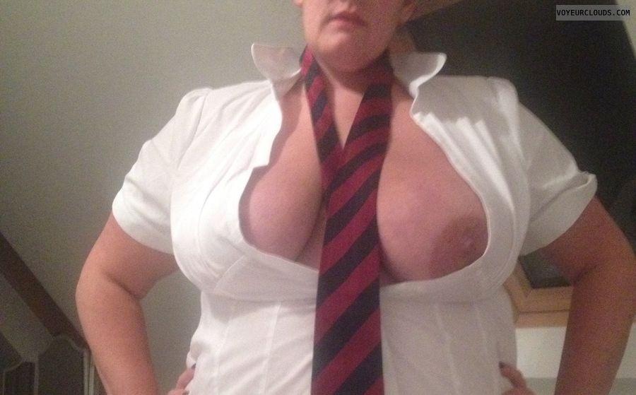 Big tits, big boobs, uniforms, open shirt, naughty wife