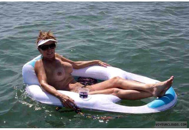 nude woman; nice boobs; skinnydipping; on the water