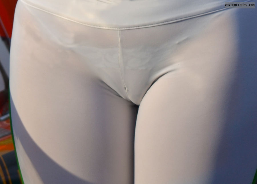 thong voyeur, grid girl, lycra, seethrough, white thong