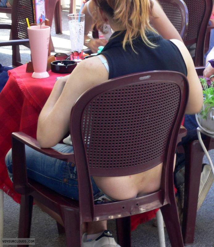 Candid voyeur public girls butt crack for support