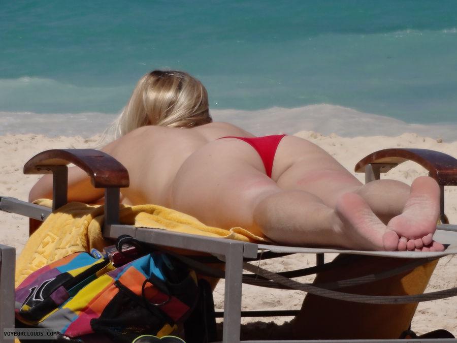 beach voyeur, blonde, beach, topless, bikini