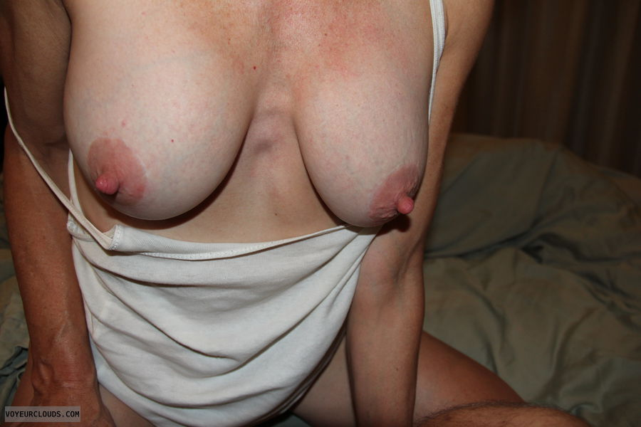 medium tits, hard nipples, pink areolas
