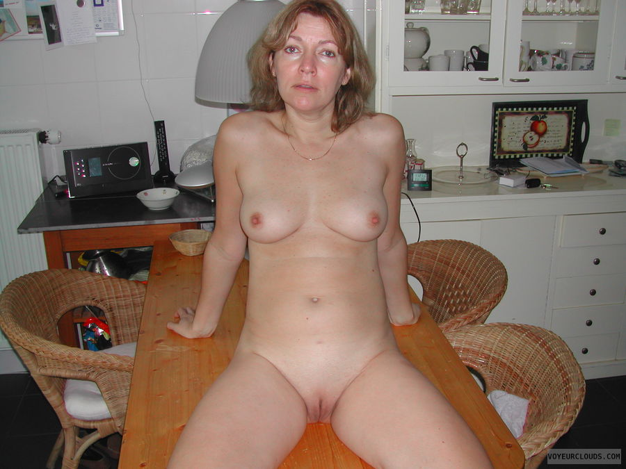 nude woman, small tits, hard nipples, shaved pussy