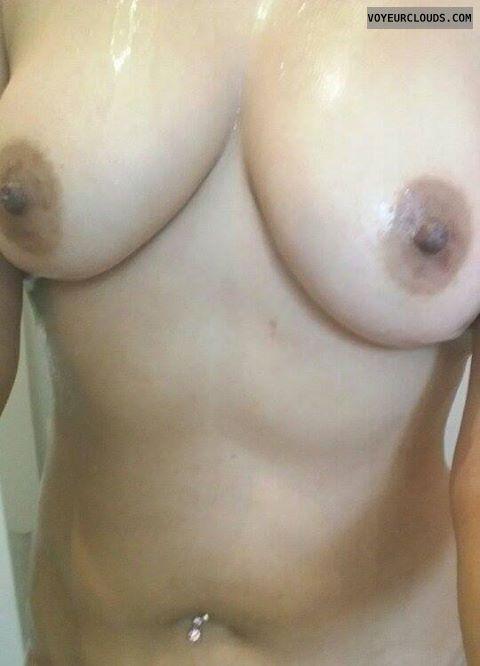 big tits, hard nipples, dark nipples, shower pic
