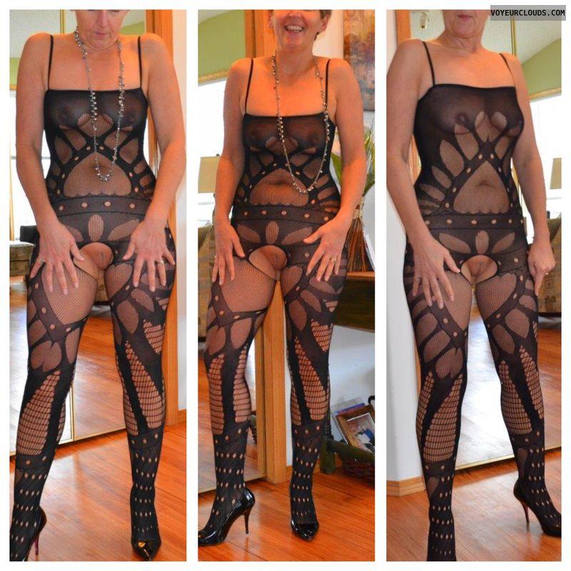 body stocking, nude woman, pussy peek, small tits