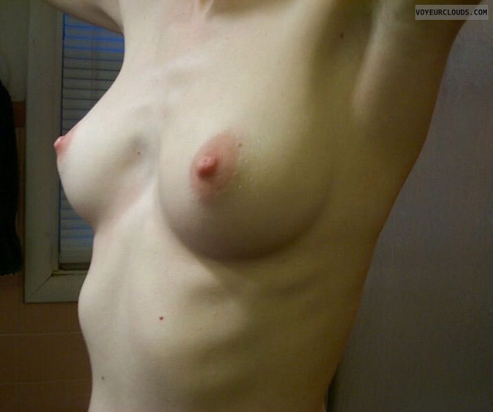 Nude wife, wife tits, hard nipples, arms up, pink nipples