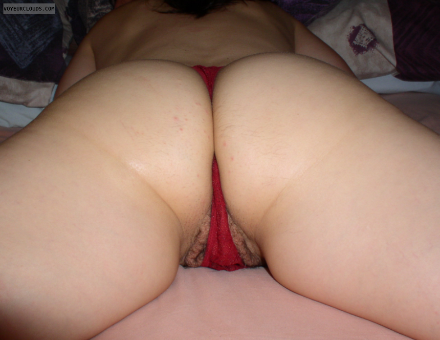 thong, from behind, nude wife