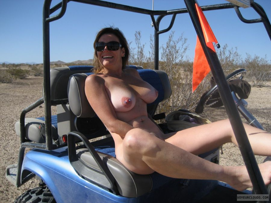 pierced nipples, big tits, nude outdoors, spread legs