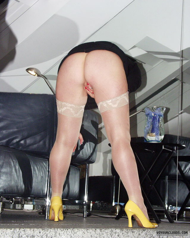 bent over, round ass, piecing, Yellow High Heels, ready for fucking