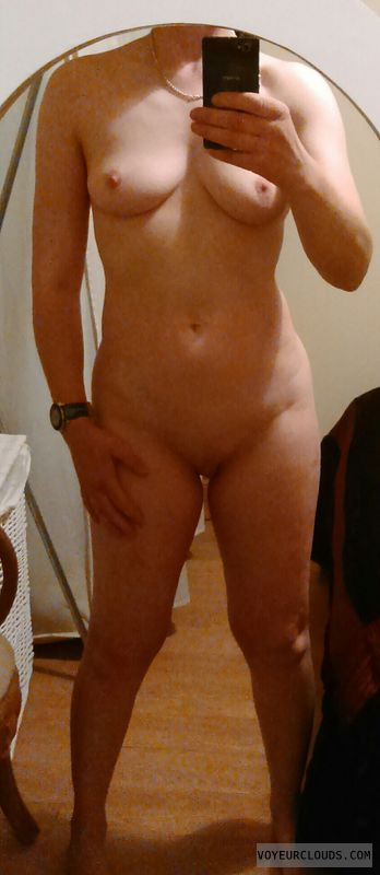 selfie, full nude, mirror pic, small tits, hard nipples