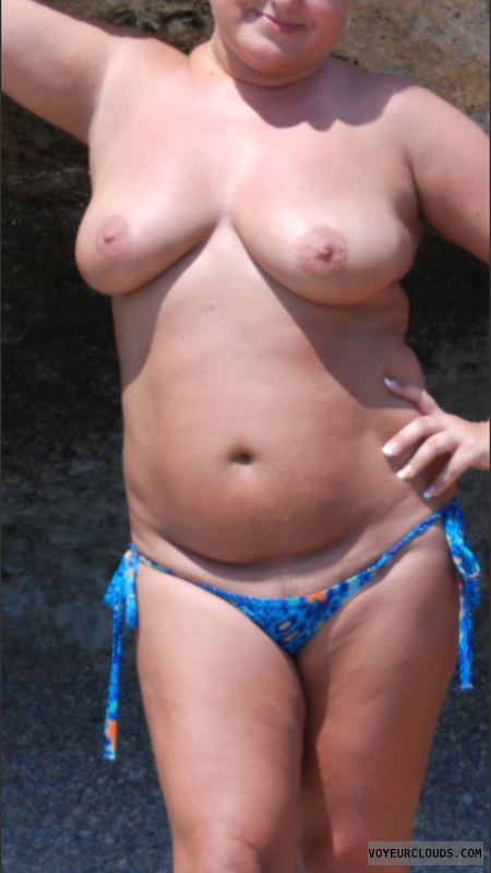 wife tits, topless, beach pic, outdoors