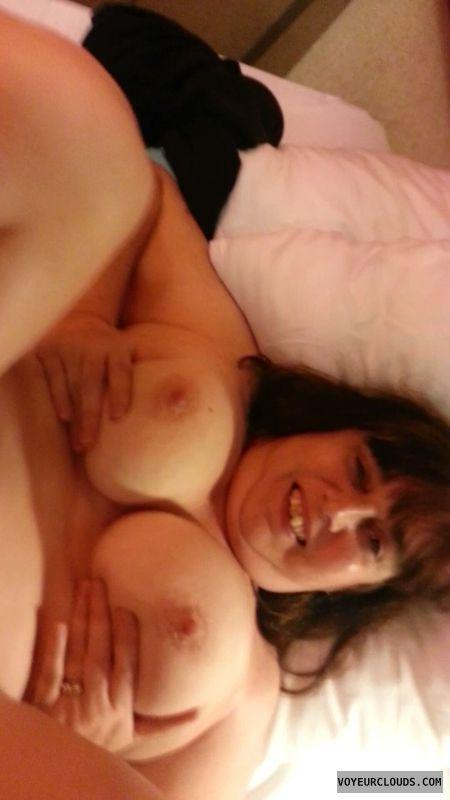 nude wife, holding tits, hard nipples
