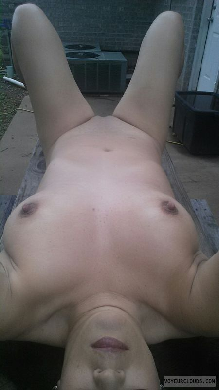 nude woman, hard nipples, shaved pussy, selfie, nude outdoors