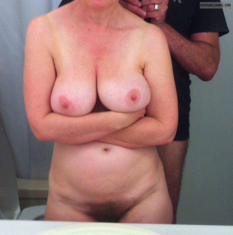 full nude, hairy pussy, big tits, hard nipples, pink nipples