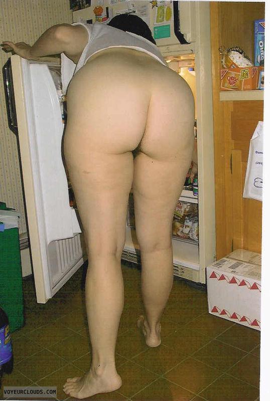 round butt, round ass, bottomless, bent over, back view