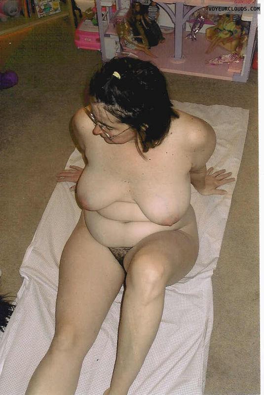 totally naked, big tits, hairy bush