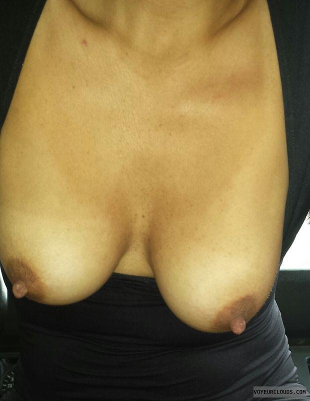 small tits, small boobs, hard nipples, dark areolas
