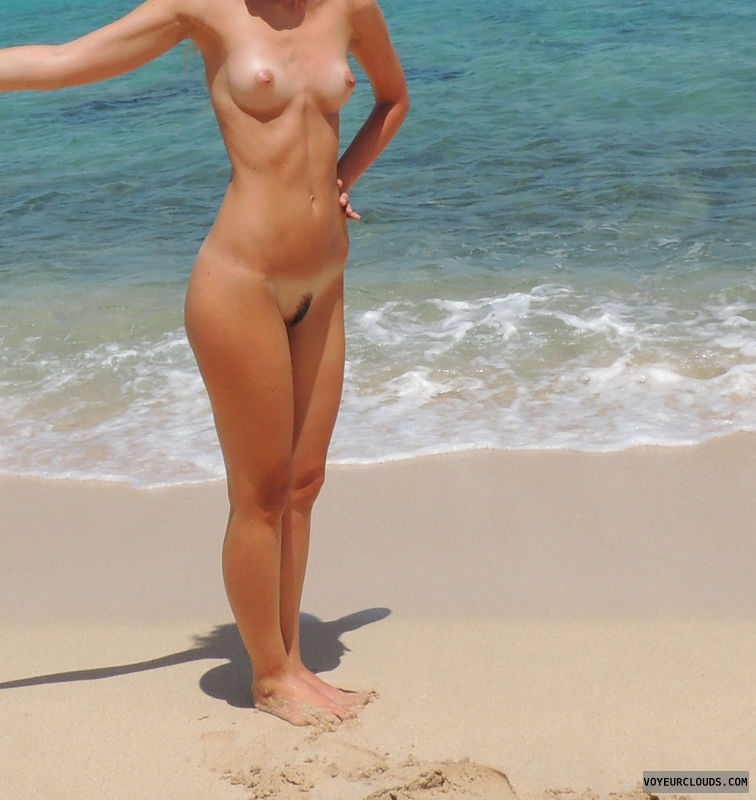 nude beach, small tits, trimmed pussy, hard nipples