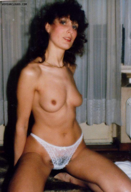 Natual tits, hairy pussy, hard nipples, retro pic
