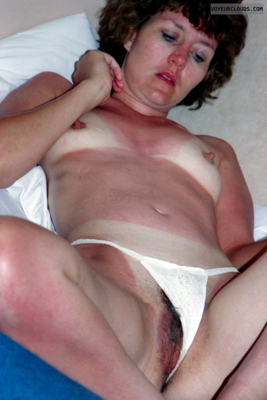 retro pic, small tits, gstring, hairy pussy, bikini tanlines
