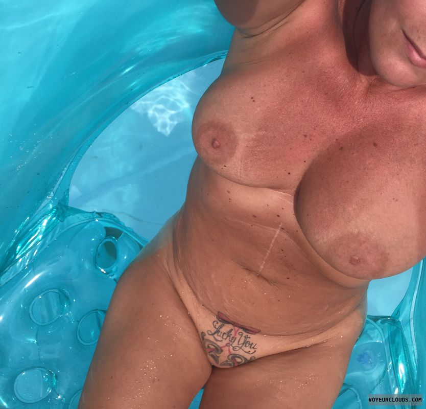 shaved pussy, bald pussy, tight pussy, big boobs, pool pic