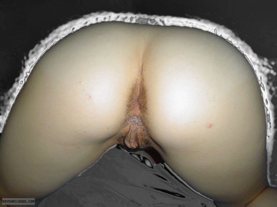 ass open, hairy pussy, wet pussy, creampie, bottomless