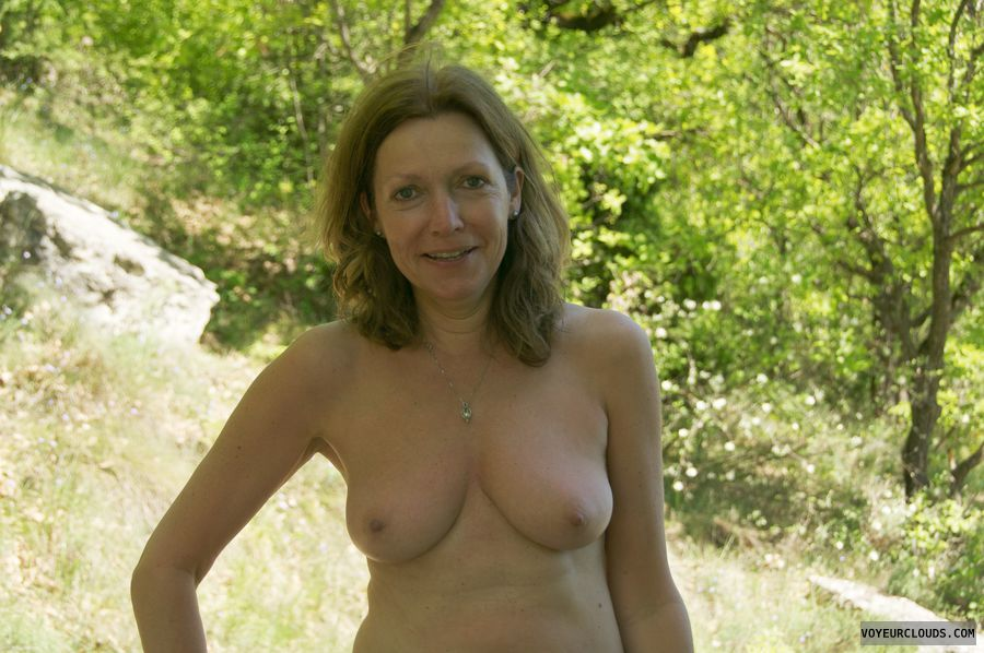 small tits, nude outdoors, hard nipples