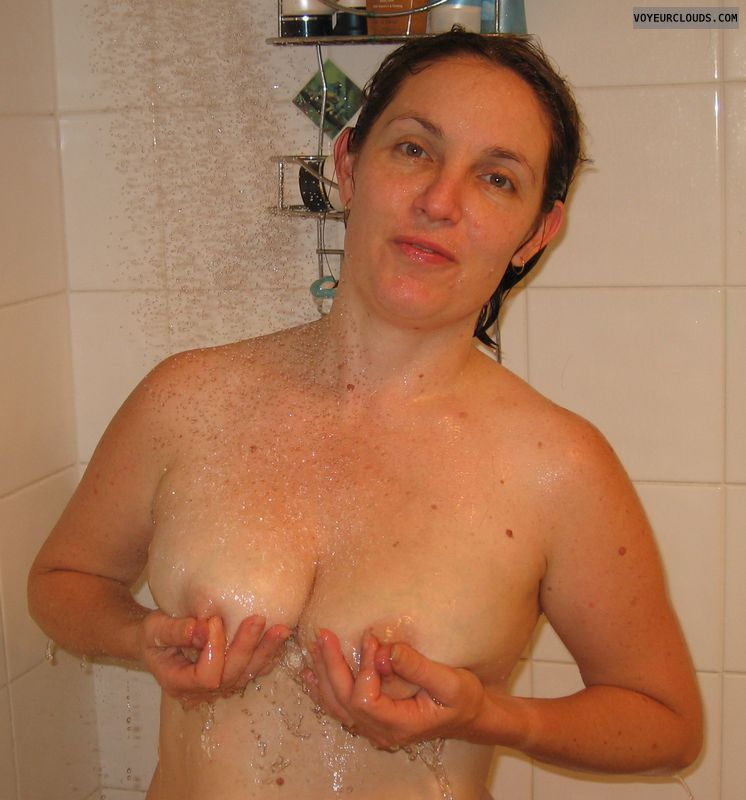 small tits, hard nipples, shower pic