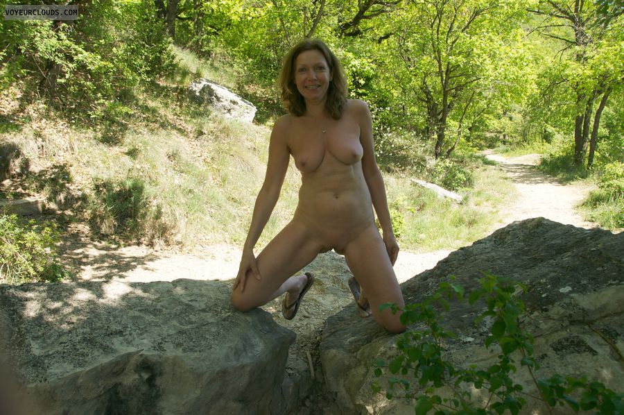 nude outdoors, small tits, shaved pussy, hard nipples