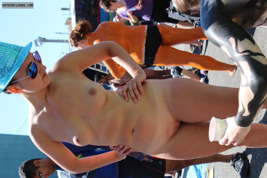 fremont, shaved pussy, nude in public