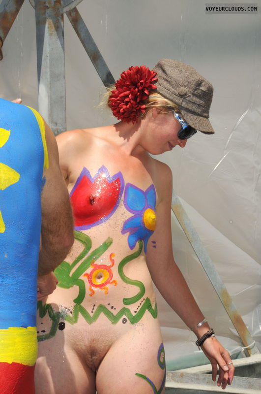 fremont, body paint, nude woman, naked woman