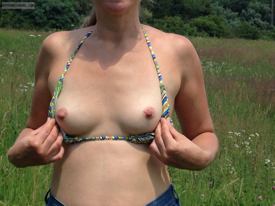 Flashing, boobs, small tits, hard nipples, swinger