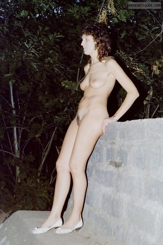 retro pic, trimmed pussy, nude outdoors, natural tits