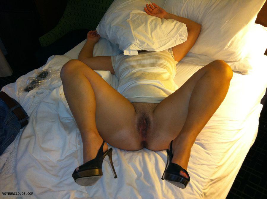 trimmed pussy, bottomless, open legs, high heels