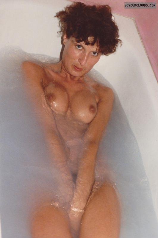 hard nipples, small tits, tub pic, pussy peak