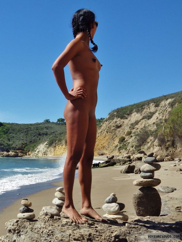 naked, beach, sun, tanned, sexy ass, nipples, small boobs