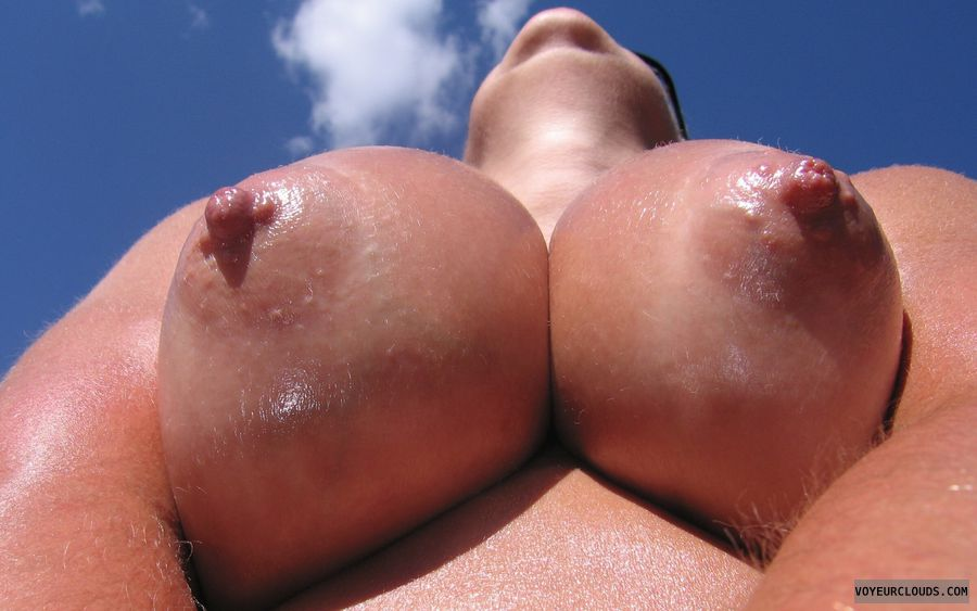 Boobies, Cleavage, Puffy Nipples, Outdoor Nudity, Oiled Titties