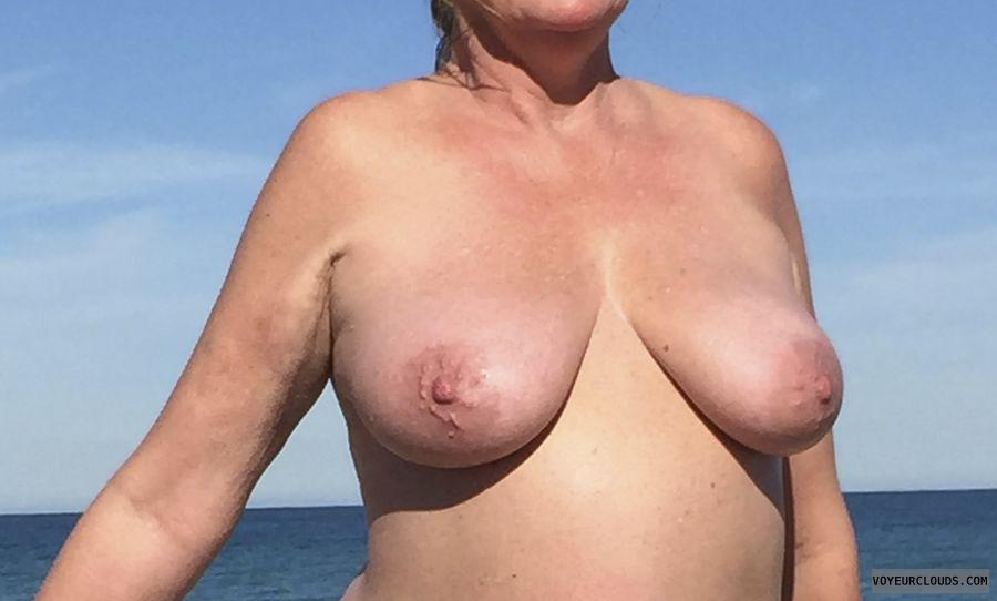 nipples, big breast, topless, beach