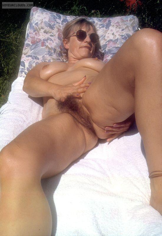 open legs, yvonne, outside, tits, nipples, naked, nude