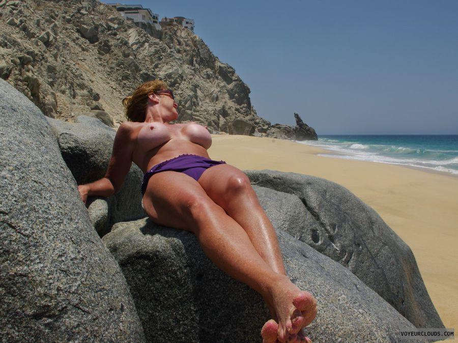 tits, legs, beach, nipples, topless, milf, sexy