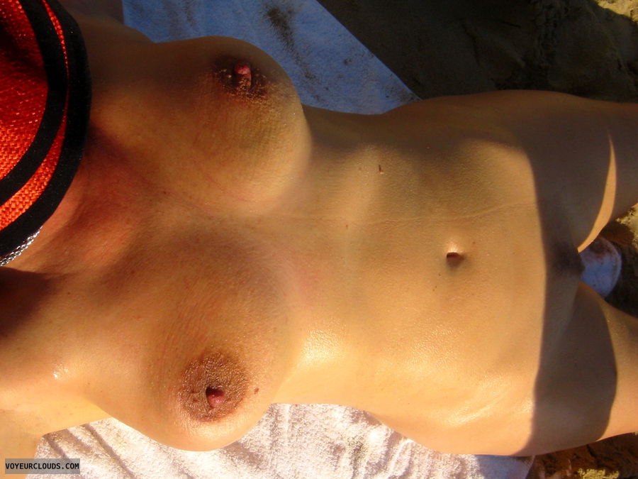 full nude, landing strip, big tits, big areolas, erected nipples