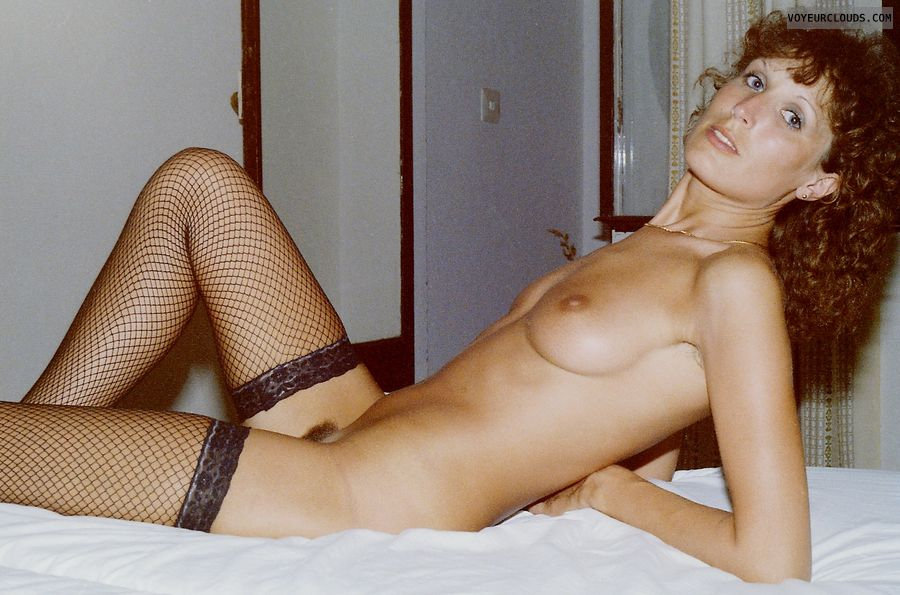 retro pic, full nude, hairy pussy, small tits, fishnets stocking