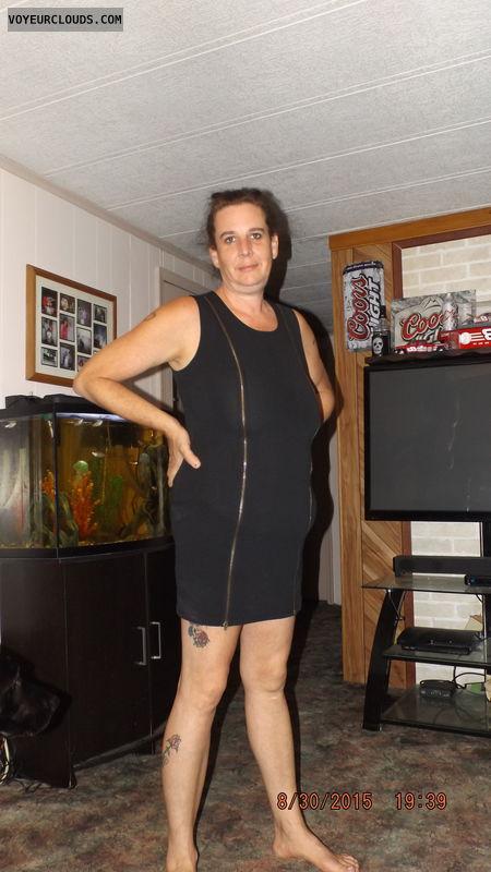 wife, milf, dress, tattoo, black dress, tight dress