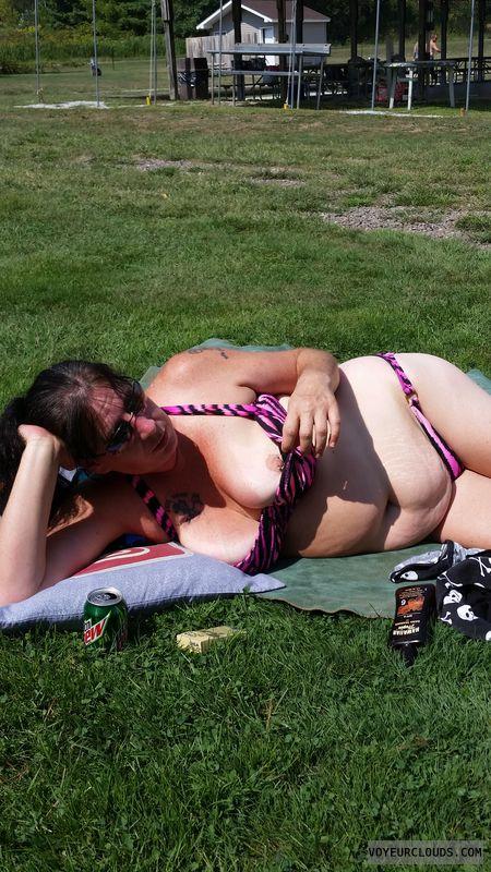 nipple slip, nipple, big tits, bikini, outside, public